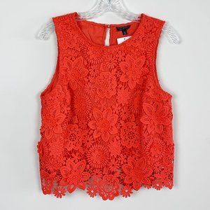 Topshop | red floral lace sleeveless blouse 8